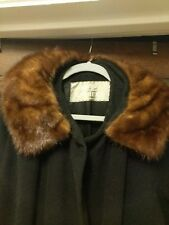 Vintage Black Wool Coat Long Large Xl Brown Mink Fur Collar Garber's Passaic Nj