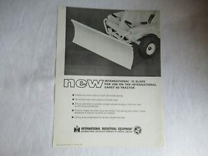 IH International 10 blade for Cadet 60 tractor specification sheet brochure