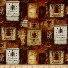 Digital Print Mia Sonoma Country Wine Labels 100% cotton fabric by the yard