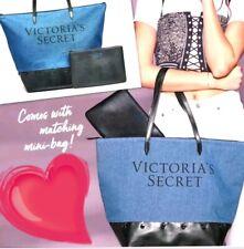 NEW WT !!!! VICTORIA'S SECRET Denim & Faux Leather TOTE HAND BAG & POUCH Purse