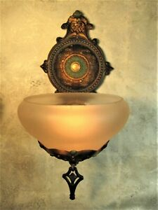 """Gill Glass Slip Shade Sconce (1) """"Victorian""""  Original Finishes 1930 Rewired"""