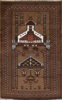 Nomad Geometric Balouch Hand-knotted Area Rug Traditional Oriental Carpet 3'x4'
