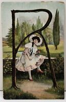 "Greeting Glitter Tree Letter ""R"" Victorian Woman Country Garden Postcard F3"
