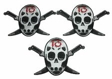 Friday the 13th Jason Mask With Knives Embroidered Iron on Patch Set of 3