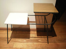 VINTAGE RETRO WROUGHT IRON TELEPHONE TABLE WITH  LAMINATE TOP & VINYL SEAT
