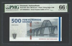 Denmark 500 Pounds 2019 P68f Uncirculated Grade 66
