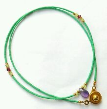 Natural Turquoise, Amethyst Pendant, Peridot & Garnet Tiny Seed Beads Necklace