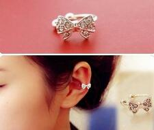 1pc Korea Vogue Bowknot Bow Rhinestone Crystal Lady Ear Bone Clip Earring HOAU