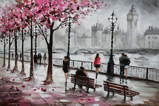 Abstract Hand-Painted city street Paris original large Oil Painting wall art