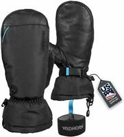 Wildhorn Tolcat Waterproof Leather Ski Mittens Touch Compatible, 7 - Stealth