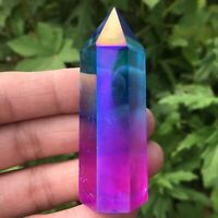 top!Natural Titanium Rainbow Quartz Obelisk Wand Crystal Tower Point Healing 1pc