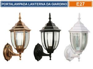 LAMPADA LANTERNA FARETTO DA MURO APPLIQUE DA GIARDINO ATTACCO E27 DA  ESTERNO