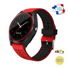 Montre Connectée Rouge/noir Smartwatch Bracelet étanche Bluetooth Android Apple