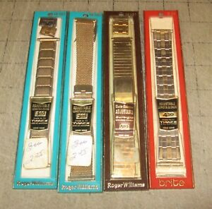 3 Roger Williams & 1 Brite Unopened Wristwatch Bands - NOS - Made to Fit Timex