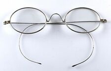 Vintage Antique Wire Rimmed Oval Riding Temple Eyeglasses Pre Nosepads 1885-1920
