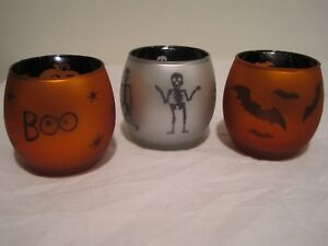 Halloween Glass Votive Candle Holders, Set of 3