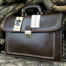 HAND MADE ITALIAN BROWN LEATHER BRIEFCASE LAPTOP SATCHEL MESSENGER OFFICE BAG