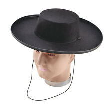 #ZORRO #COWBOY BLACK BANDIT HAT ADULT FANCY DRESS OUTFIT ACCESSORY