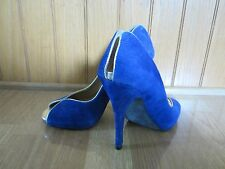 5/48 Saks Fifth Avenue Purple Gold Suede Open Toe Heels Shoes Size 9