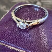 Vintage 9ct White Diamond Engagement Ring, Diamond Solitaire 0.22ct UK M
