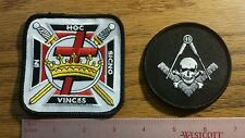 Masonic Knights Templar Embroidered Emblem Patch and skull 2 patches