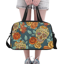 Fashion Custom Overnight Duffle Bag Skull and Flowers Weekender Travel Bag DIY