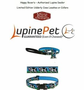 """Lupine Lifetime Guaranty Dog Leash or Collar -1""""- LIMITED RUN - Udderly Cows"""