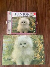 Vintage COMPLETE Milton Bradley Junior Jigsaw Puzzle White Kitty Cat 100+ pcs