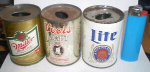 3 Vintage mini  beer can lighter holders   -  Coors, Miller & Lite
