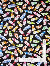 Paint Artist Color Paints Black Cotton Fabric Benartex Multicolor By The Yard