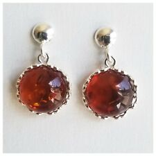 Natural Honey Baltic Amber Modern Design post Earrings 925 Sterling Silver 3.4g