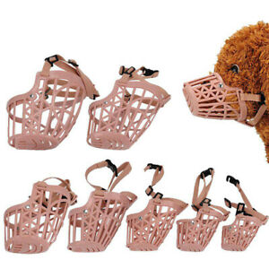 Safe Adjustable Pet Dog No Bite Plastic Basket Muzzle Cages Mouth Pet Mesh Cover