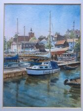 Stunning Original Watercolour Painting Boats Moored At Quay Mounted & Framed