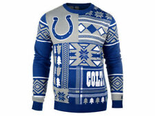 INDIANAPOLIS COLTS NFL KLEW MENS PATCHES UGLY CREWNECK SWEATER LARGE