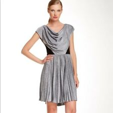 Betsey Johnson Women's Dress Silver and Black, Pleated, Cowl Neck Size 6