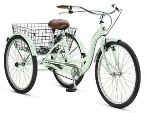 "Adult 26"" Meridian Comfortable Tricycle w/ Rear Storage Basket, Mint"