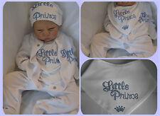 RINATO BAMBOLA o Baby Boys Little Prince Cappello Bavaglino CANOTTA Sleep Suit Set REGALO NEONATO