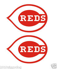 "2 Cincinnati Reds Bean Bag Toss Cornhole vinyl decals 14""x9"" Each-Red"