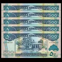 Lot 5 PCS, Somaliland 500 Shillings, 2011, P-6h, UNC, 1/20 Bundle