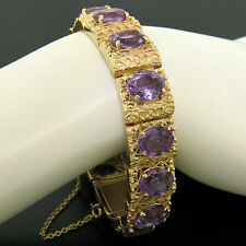 "Vintage 14k Yellow Gold 34ctw Oval Cut Amethyst Heavy 7"" Textured Link Bracelet"