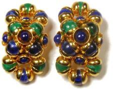 Big & Bold!!! Vintage Poured Glass Faux Malachite & Lapis French Clip Earrings