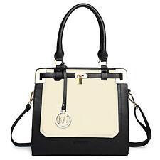 Ladies Leather Tote Bag Padlock Shoulder Satchel Handbag CREAM WHITE/BLACK