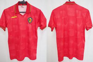 1992-1993 Belgium Red Devils KBVB Football Jersey Shirt Home diadora UEFA Euro M