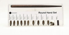 MANUSCRIPT ROUND HAND SET DIP PEN HOLDER 10 CALLIGRAPHY NIBS & STORAGE BOX 280