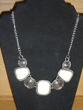 Antique Necklace Choker Costume Jewelry New white Stone Acrylic Vintage silver