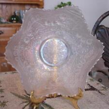 "Fenton Leaf Chain 9"" White Carnival Glass Bowl Beautiful"