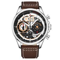 Stuhrling 923 01 Ace Aviator Quartz Chronograph Date Skeleton Leather Mens Watch