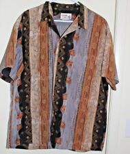 Iolani Hawaiian Shirt Polyester Men's L Floral Vintage Made in Hawaii USA