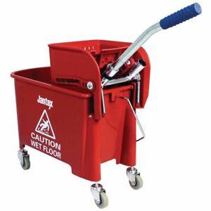 Jantex Kentucky Mop Bucket in Red - Wringer Handle - Plastic - 20 Ltr
