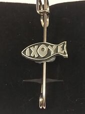 "IXOYE Fish Symbol L5  kilt pin Scarf or Brooch pin pewter emblem 3"" 7.5 cm"